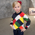 Girls Wool Sweaters New Vogue Candydoll Kids All-match Tops Plaid Patchwork Warm Breathable Girl's Spring and Autumn Clothings