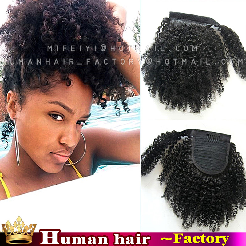 120g 140g Curly 100 Human Afro Ponytail Hair Extensions Brazilian Remy Puffs Ponytails Humane Black Short Hairstyles On Aliexpress Alibaba