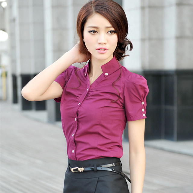 b73471613bc Button Design Sexy V-neck Slim Office Lady Formal Blouse Summer Plus Size  XS-4XL Short Sleeve Solid Casual Women Cotton Shirt