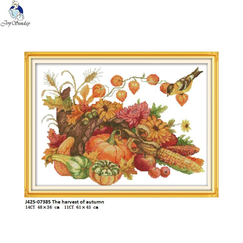 Joy Sunday The harvest of autumn Scenery Cross Stitch  Counted 11CT White fabric 14CT Printed Cloth NKF Kits