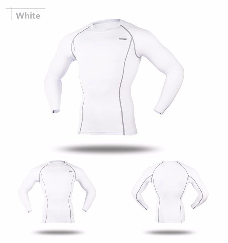 T-shirt de sport pour homme ARSUXEO blanc, manches longues, moulant slim, gym musculation cyclisme running, vue de face et de dos