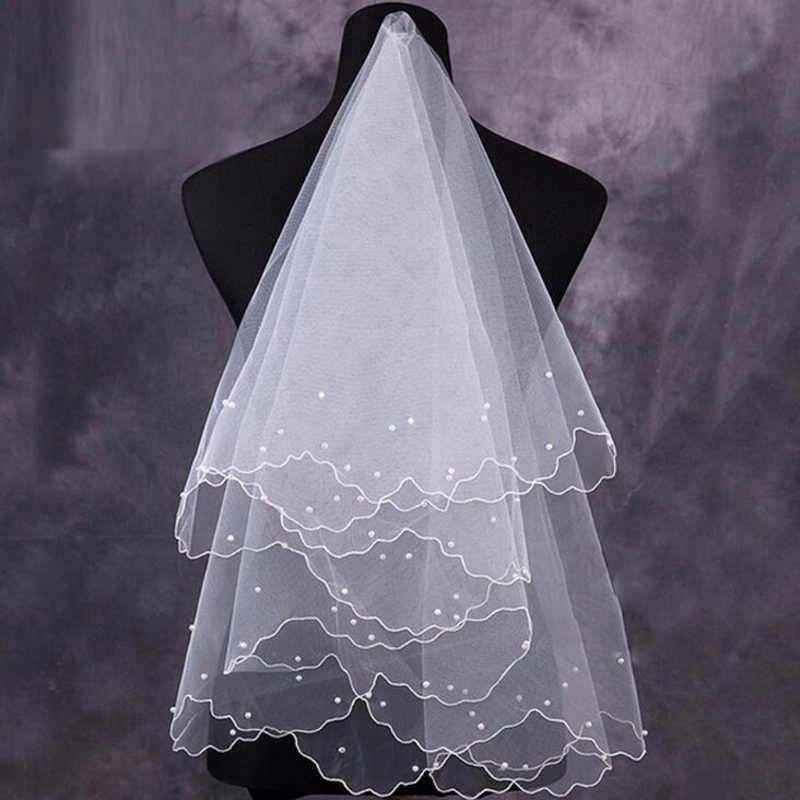 Women Pearl Bridal Veils Wedding Dress Veil Layers Tulle Ribbon Edge Wedding Accessories