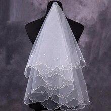 Женская жемчужная Фата для невесты, свадебное платье, вуаль, слои, тюль, лента по краю, свадебные аксессуары