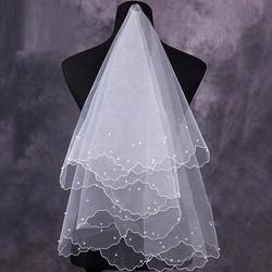 Для женщин жемчуг фату свадебная фата слоев лента из органзы Край Свадебные аксессуары