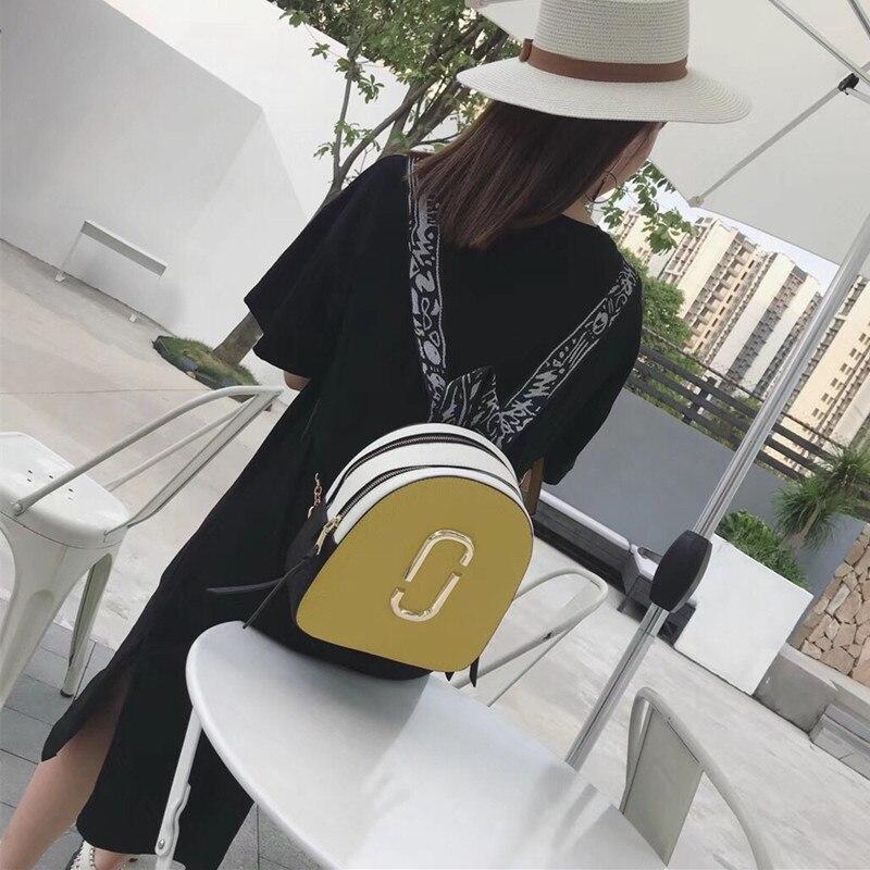 Womens Backpack 2018 New Contrast Colorblock Backpack Mini Shoulder bag Car line Casual Joker Camera Backpack