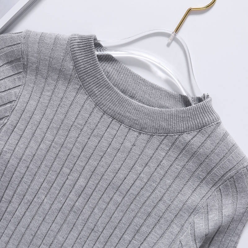 Women Long Sleeve Threaded Knit Sweater Basic Round Neck Pullover Tops Jumper
