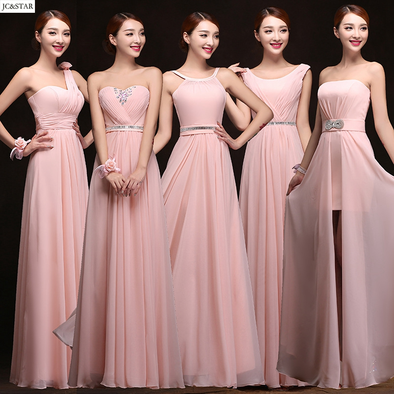 High Quality Blush Pink Bridesmaid Dress Chiffon Vestidos De Festa ...