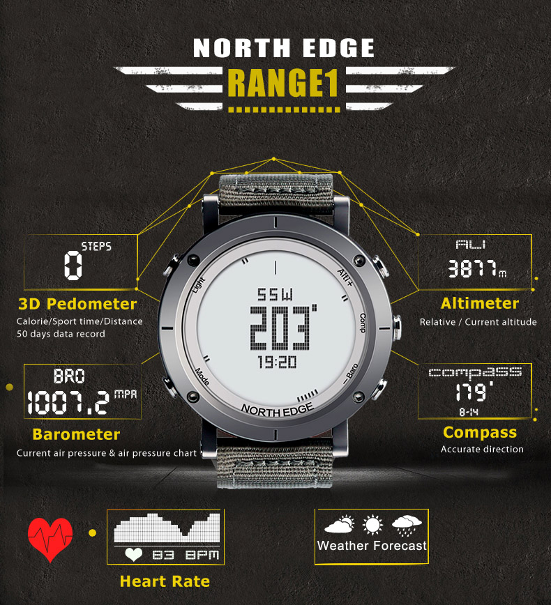 Topdudes.com - Northedge Top Men's Digital Sports Watches with Weather Altimeter Barometer Thermometer Compass
