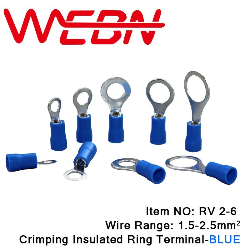 RV2-6 Crimping Insulated Ring Terminal 0.8mm Thick Copper&PVC Material Blue for Wire Range 1.5-2.5mm2 16-14 AWG 1000pcs/Pack 1000pcs non insulated spade terminal snb3 5 6
