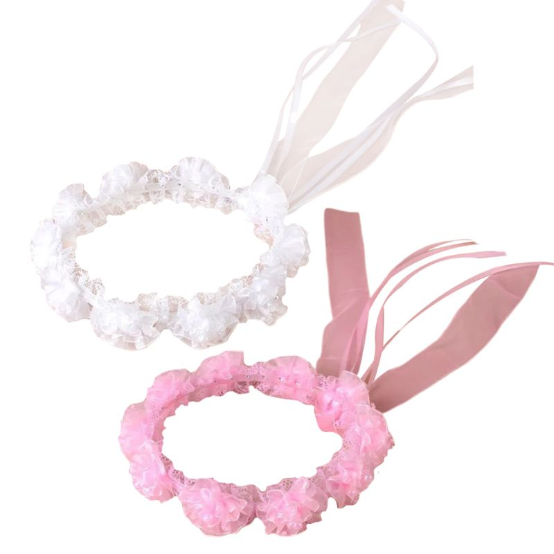 Child Girl Wedding Headband Artificial Mesh Flower Adjustable Ribbon Crown Wreath Faux Pearl Beading First Communion Photo Props