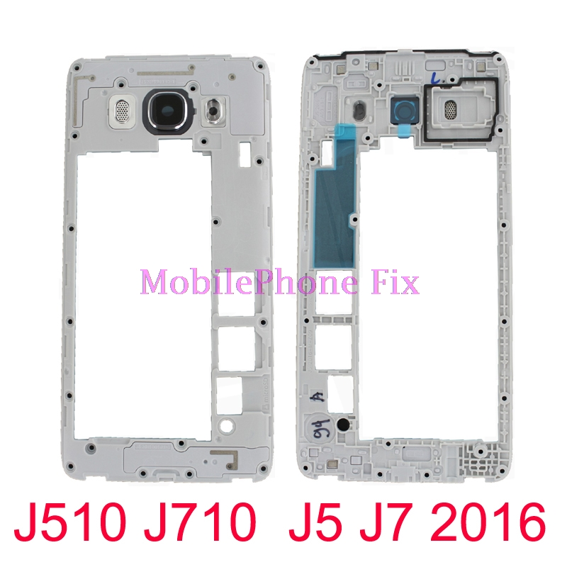 10 PCS For Samsung Galaxy J5 J7 2016 J510 J710 Middle Frame Housing Outer Frame Bezel Chassis + Camera Lens Repair Parts