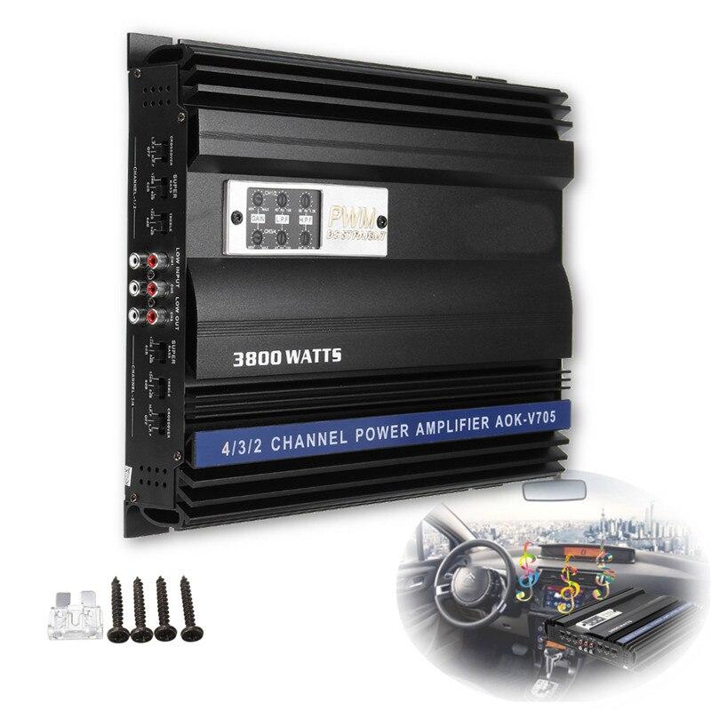 KROAK 3800 w RMS 4 Canal 12 v 4ohm Camion De Voiture Audio Puissance Stéréo Amplificateur Amp Haut-Parleur En Métal