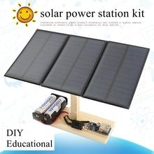 DIY Solar Power Station Assembly Kit Children Educational Solar System Kit 3pcs Solar Cells Age 10+
