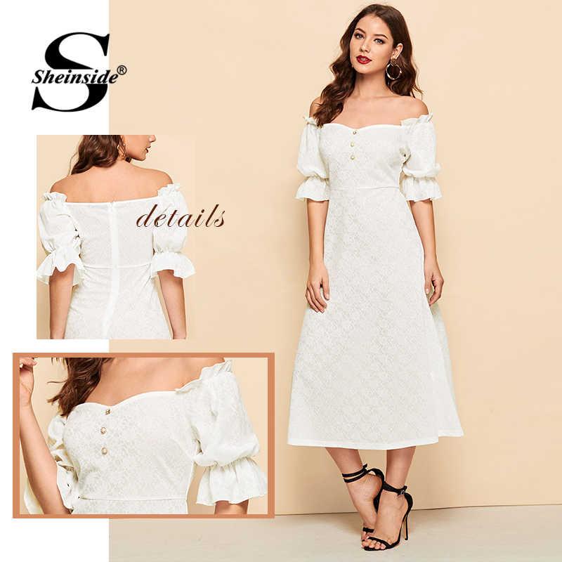 Sheinside и пуговицы спереди рюшами с пышными рукавами жаккардовая Bardot Dress элегантные расклешенные длинные платья для Для женщин 2019 белый летнее платье