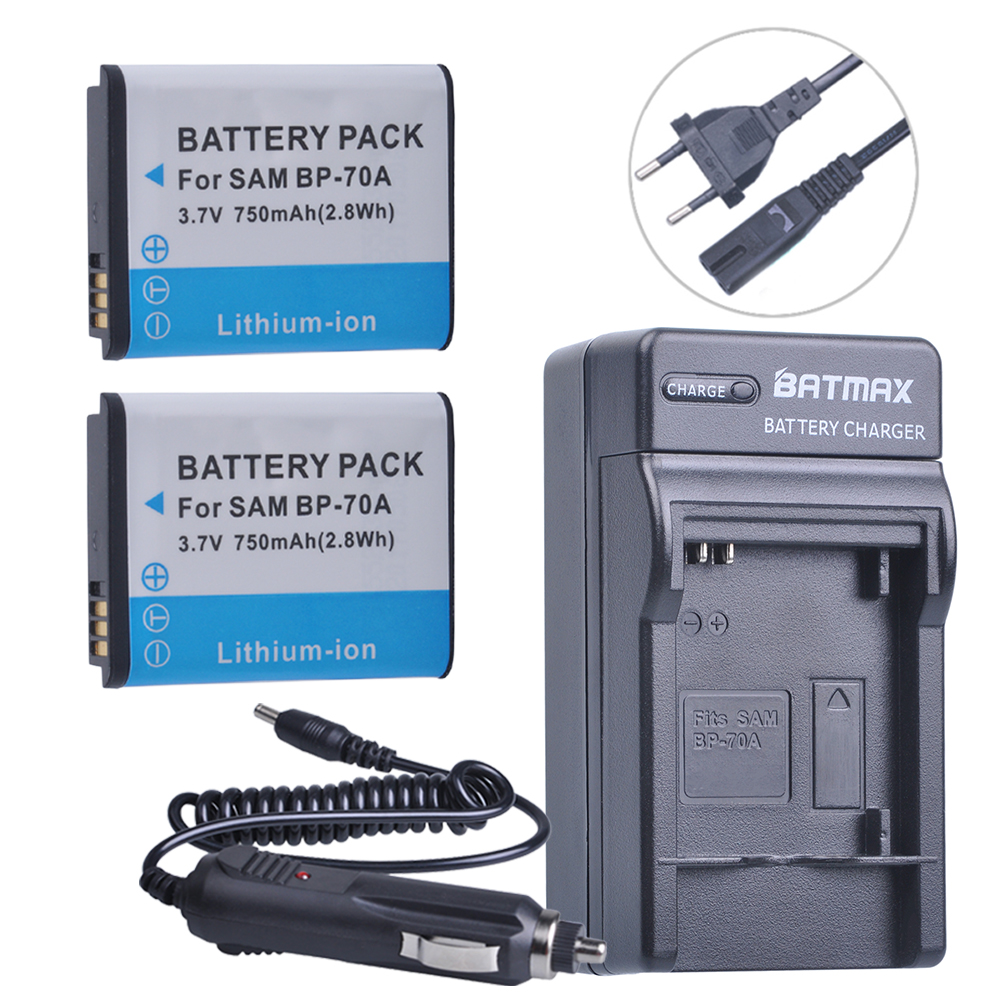 2pc BP-70A BP 70A BP70A Battery + DC Travel and Car Charger Adapter for Samsung ST95 ST100 ST6500 SL50 SL600 TL205 WB30F WB35F