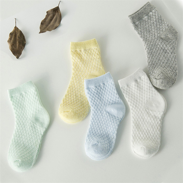 Kid's Cotton Ultra Thin Socks 5 Pcs Set