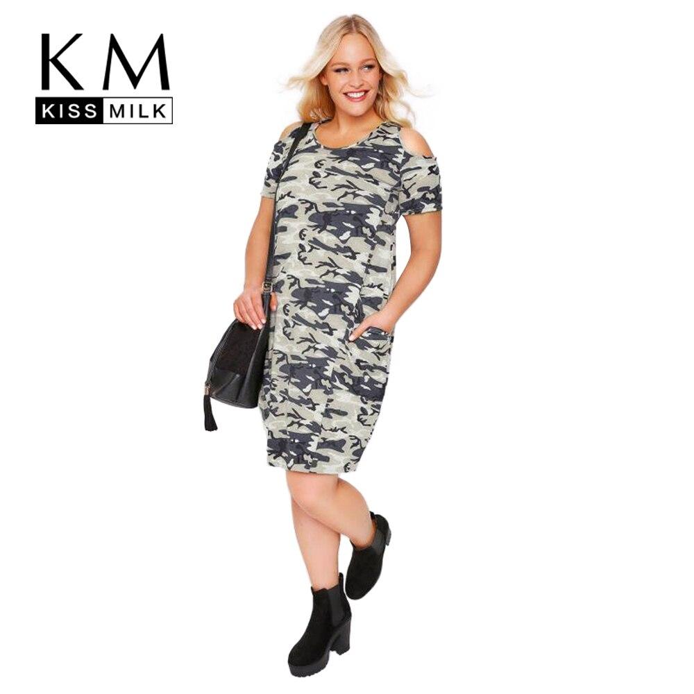 Kissmilk plusz méretű nők 2018 új divat camo nyomtatás O nyak rövid ujjú hideg váll zseb alkalmi térd hosszú ruha