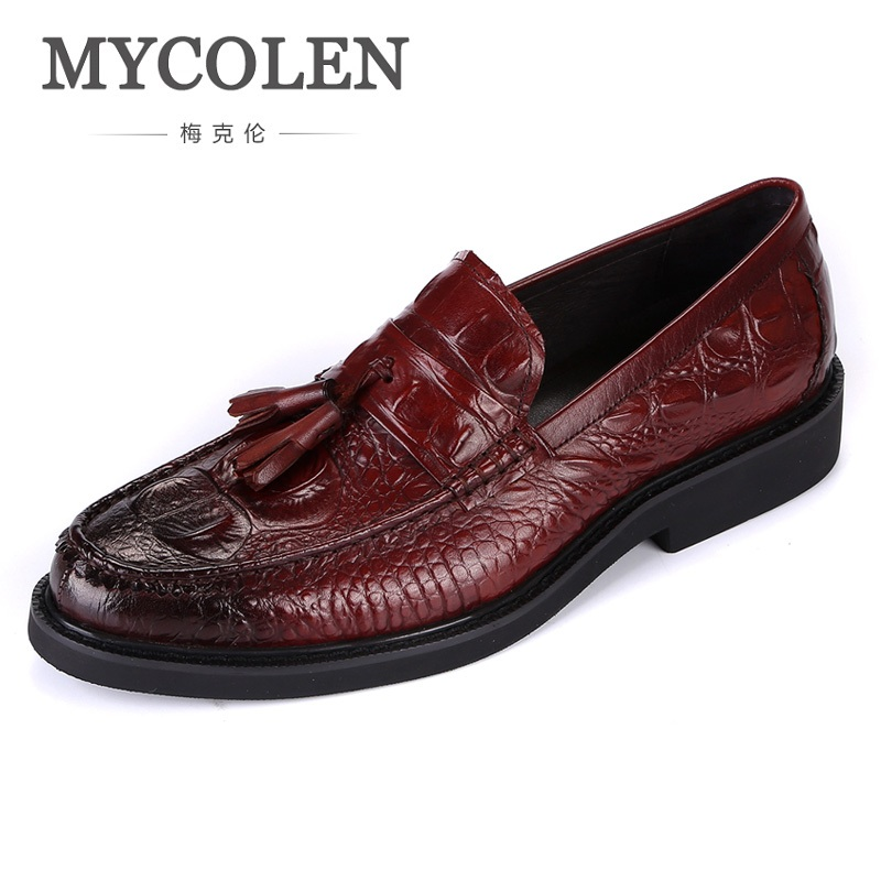 MYCOLEN Fashion Designer Genuine Leather Men Shoes Luxury Loafers Black Male Casual Crocodile Shoes Men Chaussures Homme mycolen mens loafers genuine leather italian luxury crocodile pattern autumn shoes men slip on casual business shoes for male