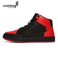 Soulsfeng Men High Top Skateboarding Shoes Flat Lace up Cowhide Leather Sneaker Wear resistant non slip warm walking shoes