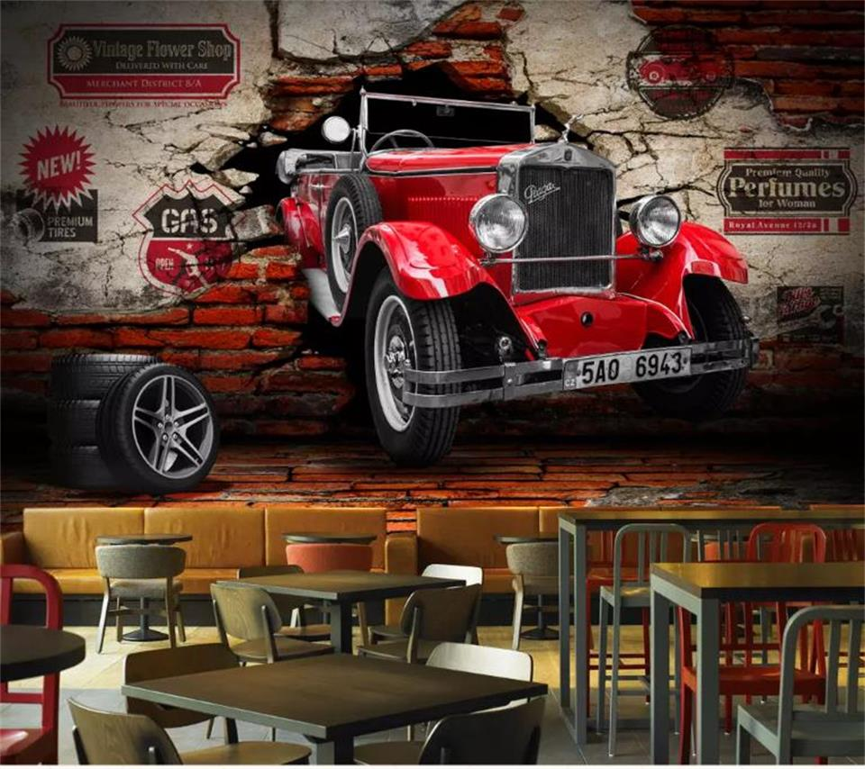 custom 3d photo wallpaper kids room mural old vintage car breaking wall 3d picture sofa TV background non-woven wallpaper mural custom 3d photo wallpaper mural non woven living room tv sofa background wall paper abstract blue guppy 3d wallpaper home decor