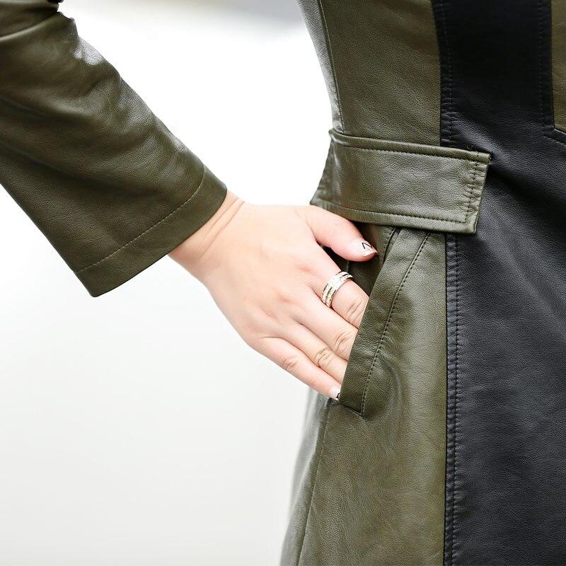 Hiver En Noir Faux Cuir 4xl Slim Taille vert Trench Automne coat Survêtement 5xl Grande 2018 Pu Femmes Dames Veste Longues Femelle pXqgXxwF