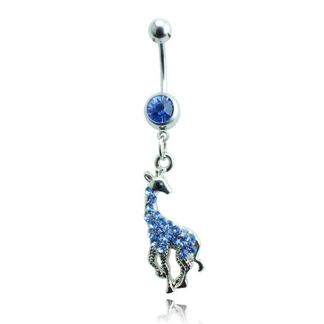 Us 1 72 5 Off Brand New Fashion Belly Button Rings Steel Barbell Dangle Rhinestone Giraffe Navel Rings Body Piercing Jewelry On Aliexpress Com
