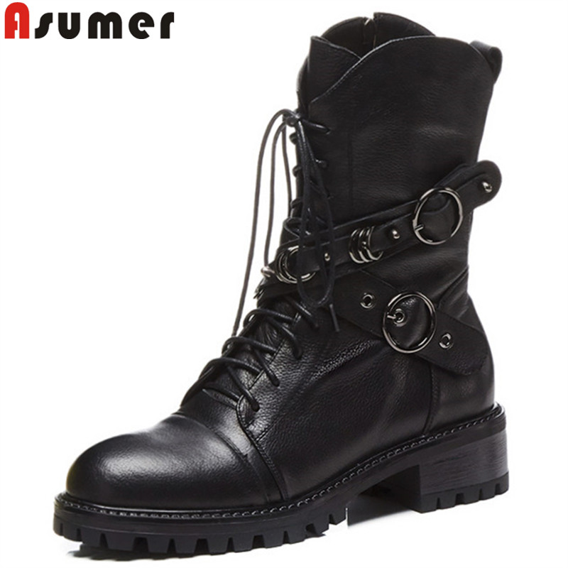 ASUMER black fashion hot sale new ankle boots for women round toe zip genuine leather boots zip lace up classic Martin boots