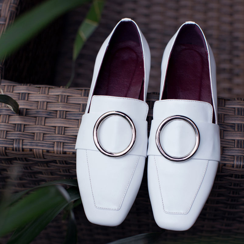ФОТО Ladies Shoes Genuine Leather brand Shoes Woman Elegant Spring Autumn Women Famous Square Toe Female Loafers Fashion Women Shoes
