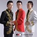 Новый Китайский свадебный смокинг жениха костюмы золотая вышивка, аппликация белый мужчины белые люди костюм мужские костюмы для свадьбы мужчины золото костюмы