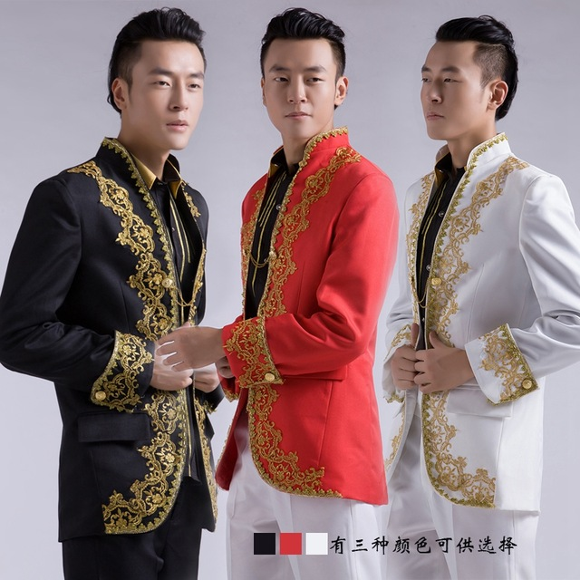 New Chinese Wedding Groom Tuxedo Suits Gold Embroidery Lique White Men Suit For In From S Clothing
