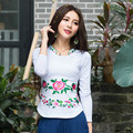 Осень-Весна Большой Размер Дуги Дизайн С Длинным Рукавом Основные Майка Женщин Вышитые Slim Fit Тис Национальная Одежда