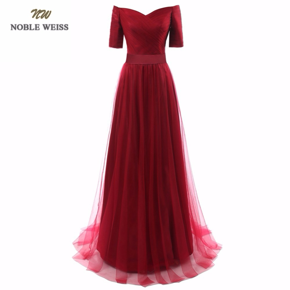 NOBLE WEISS Robe De Soiree V Neck Dark Red A Line Evening Dresses Pleat Custom Made
