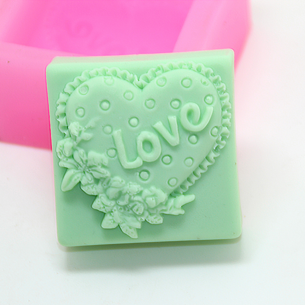 Silicone mold love heart patter square shape handmade soap mould Fondant cake chocolate decoration mold clay craft mold