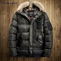 Thick Long Down Parkas Jackets 2017 Men S Parka Hooded Coat Male Fur Collar Parkas Winter