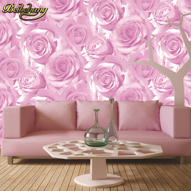 beibehang Thickened waterproof red rose background wall wallpaper ...