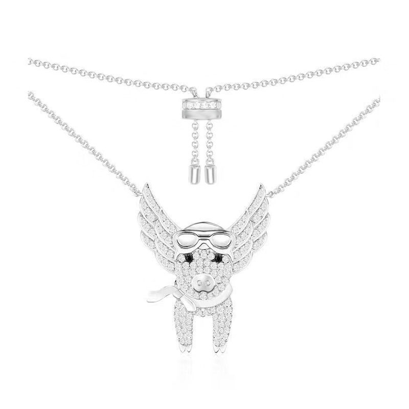 SLJELY Fashion Cute 925 Sterling Silver Micro Cubic Zirconia Flying Pig Pendant Necklace Adjustable Chain Women