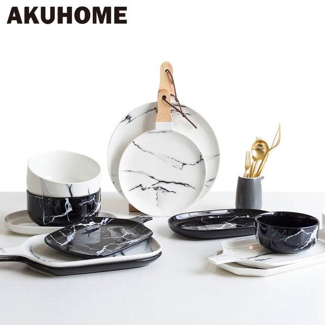 European Marble Tableware Ceramic Tableware Dish Face Plate Platter Bow Cutter Board