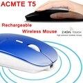 Беспроводная мышь ACTME T5 Slient  перезаряжаемая utra-slim  2 4G  2400 точек/дюйм  компьютерная игровая мышь с энергосберегающим литий-ионным аккумулятор...