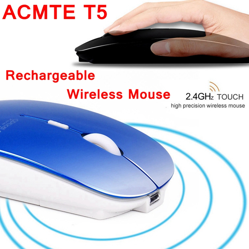 ACTME T5 Slient Rechargeable Utra-slim Wireless Mouse 2.4G 2400DPI Computer Game Mouse Power Saving Li-ion Battery Installed