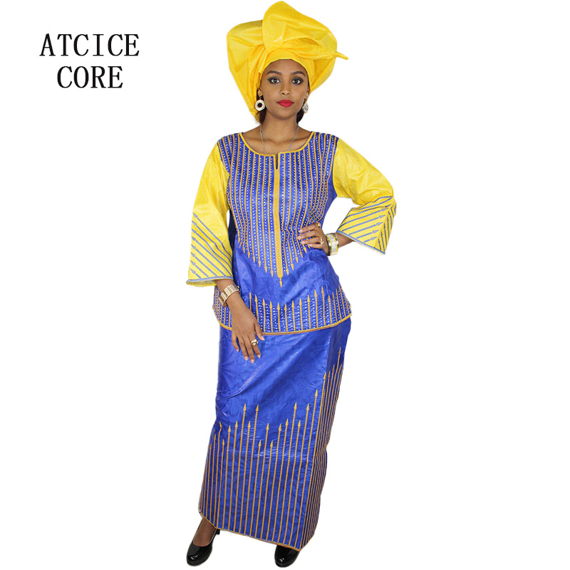 Candid African Dresses Bazin Riche Embroidery Design Top With Rapper Three Pcs One Set Dp159# Exquisite Craftsmanship;