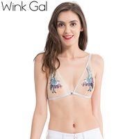 Wink Gal 2017 New Fashion Woman Bra Embroidery Animal Sexy Bralette Push Up Lingerie Hot Plunge