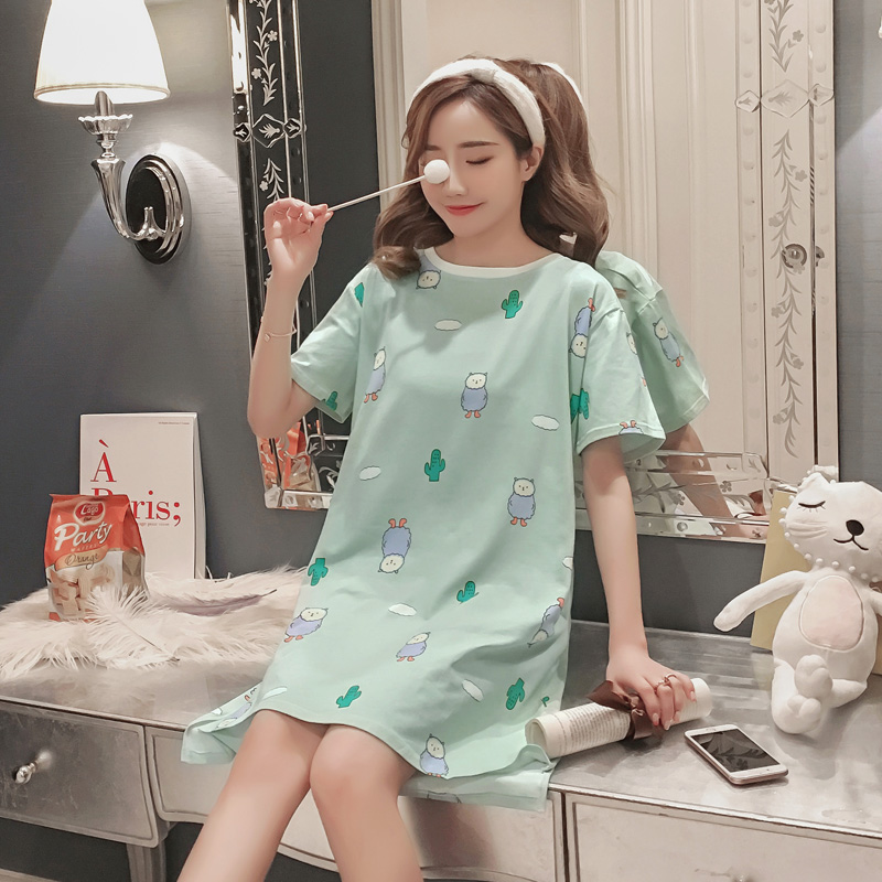 Women Cute Print Sweet Nightdress Cotton Soft Short Sleeve Sleepwear Female Summer Loose Pullover   Nightgowns     Sleepshirts