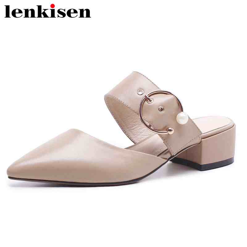 Lenkisen pop British style plus size genuine leather Oxford mules slip on pointed toe med heel buckle woman elegant sandals L9f1 creativesugar elegant pointed toe woman