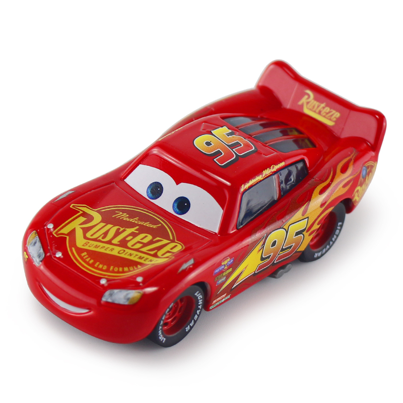 Disney Toy about 8cm Red Car 1:55 Scale Diecast Action Figure Metal Racing Car Alloy Model Toys for Childrens Christmas Gift