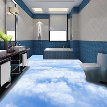 Custom 3D Photo Wallpaper Blue Sky White Clouds