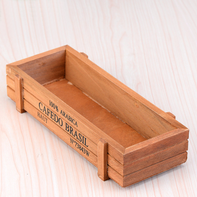retro vintage desktop wood wooden pencil case storage box succulent plants pot vase 225