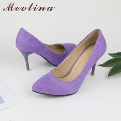 Meotina chaussures femmes talons hauts pompes troupeau bout pointu femmes pompes dames chaussures mince talon haut grande taille 9 10 43 bleu violet