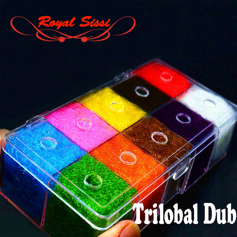 10colors fly tying materials trilobal dubbing luxury despenser box/ Shaggy dubbing sparkle translucence gleamy trilobal ice dub 1pcs fly tying dubbing wax medium tack 4g premium