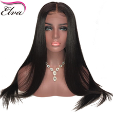 Straight 150% Density Lace Front Human Hair Wigs With Baby Hair Deep Parting 13×6 Remy Hair Lace Front Wig Pre Plucked Elva Hair