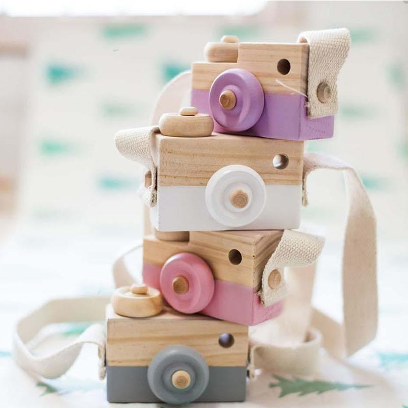 Wooden Camera Toy Baby Kids Cute Xmas Gift Kids  Neck Camera Photography Popular House Decoration Toy Free Shipping